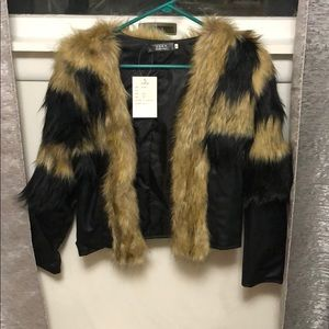 Faux leather & fur jacket